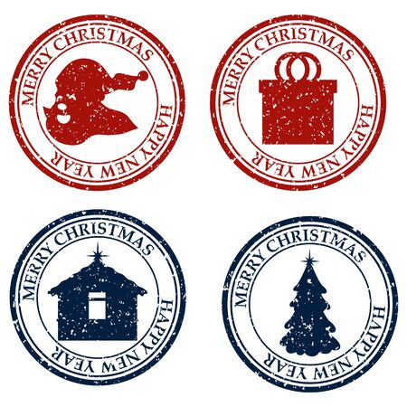 Merry Christmas And Happy New Year set dirty post stamp icon isolated on white vector
