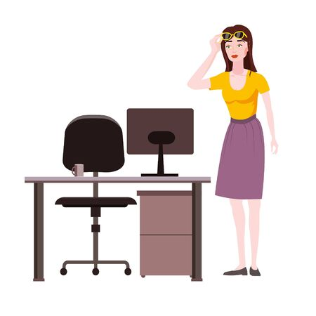 Emotion woman surprised raises glasses shocked expression looks at screen notebook, office table chair. Vector illustration isolated cartoon style Ilustracja