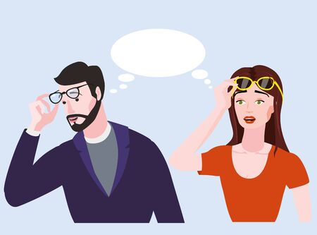 Woman and bearded emotion man surprised in glasses. Shocked expression bubble vector illustration isolated cartoon style
