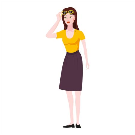 Emotion woman surprised raises glasses shocked expression. Vector illustration isolated cartoon style