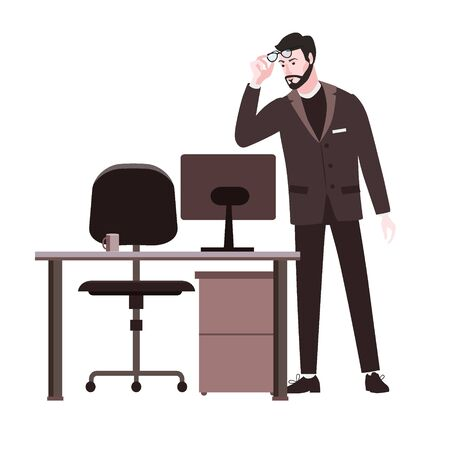 Bearded emotion man surprised in glasses and a suit looks at screen notebook, office table chair. Shocked expression vector illustration isolated cartoon style Ilustracja