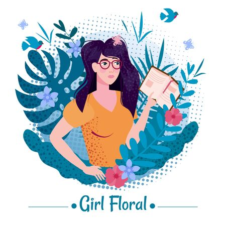 Cute girl beauty with long romantic hair with book among the leaves and flowers of exotic plants summer in a T-shirt. Illustration vector isolated banner poster postcard trend flat cartoon style.