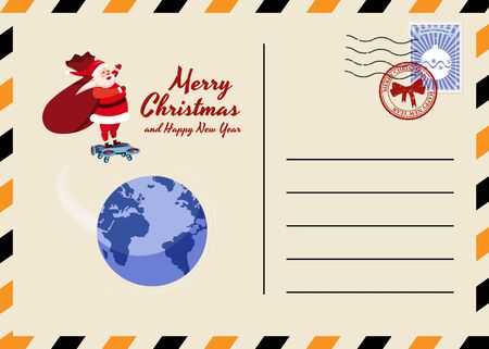 Christmas and New Year Postcard with stamps and mark. Santa Claus bag with gifts Drone flies above the Earth. Flat cartoon style vector illustration greeting card poster banner 일러스트