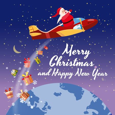 Santa Claus flying speed retro plane flies delivering gifts in space above the Earth. Illustration vector isolated cartoon style poster banner template 일러스트