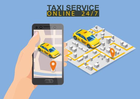 Taxi service isometric. Hand holding smartphone with city map route and points location yellow car. Taxi app on display. Online mobile application order taxi service. Vector illustration for taxi serv