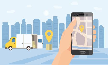 Delivery truck service. Hand hold smartphone application for parcel shipment tracking map. 24 7 delivery van. Vector illustration logistics poster for advertising design template