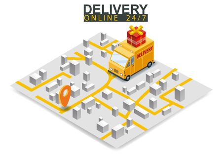 Isometric delivery truck concept. Map city logstics online shopping ecommerce concept isometric. Vector isolated background