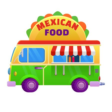 Food truck traditional mexican Taco. Vehicle icon vector illustration cartoon style 일러스트