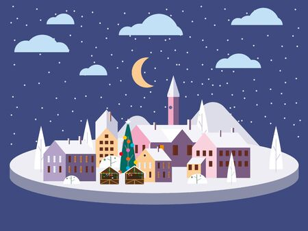 Urban winter city street with old town houses and trees. Landscape with Christmas tree. Vector illustration isolated trendy flat cartoon style 일러스트