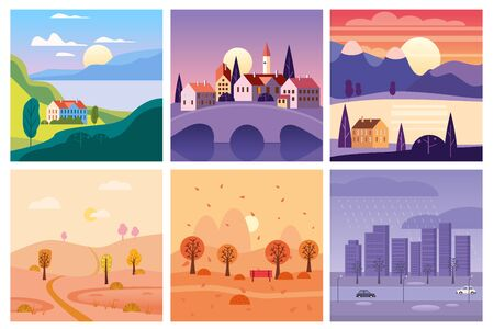 Calendar set landscape summer, autumn in flat minimal simple style - season banners poster cover template. Vector isolated
