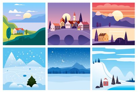 Calendar set landscape winter, summer in flat minimal simple style - season banners poster cover template. Vector isolated 일러스트