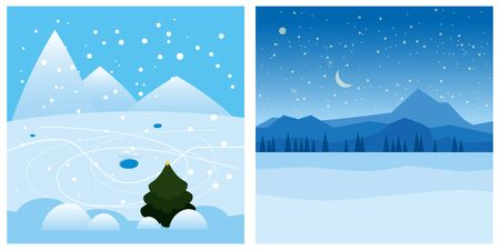Set winter landscape mountains snow trees. Vector isolated minimal cartoon style, template baner poster