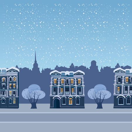 Urban winter city street with old town houses and trees cityscape. Vector illustration isolated trendy flat cartoon style 일러스트