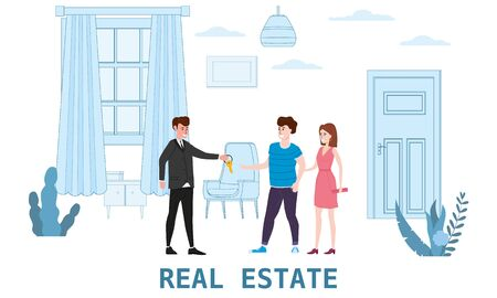 Real estate concept. Sale or rent new home service. Modern family characters to buy new house or big appartment. Interior new housing. Realtor gives keys to family from new home. Broker services. Vect 일러스트