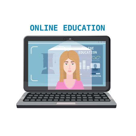 Online education training coaching, workshops and courses. E-learning page with notebook and mentor masterclass. Vector illustration isolated