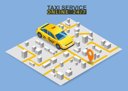 Taxi service isometric. Smartphone with city map route and points location yellow car. Taxi app on display. Online mobile application order taxi service. Vector illustration for taxi service advertise