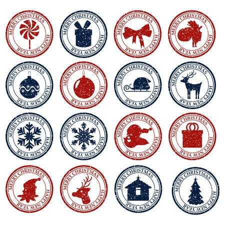 Merry Christmasand Happy New Year set dirty post stamp icon isolated on white vector
