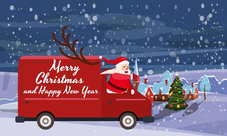Merry Chrismas Santa Claus Van delivering gifts background night winter town village. Flat cartoon style vector illustration greeting card poster banner