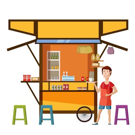 Warung street food cart with seller man cafe restaurant small family owned busines, store shop. Vector isolated cartoon style