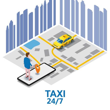 Taxi service isometric. Man near smartphone screen with city map route and points location yellow car. Online mobile application order taxi service. Vector illustration for taxi service advertisement,