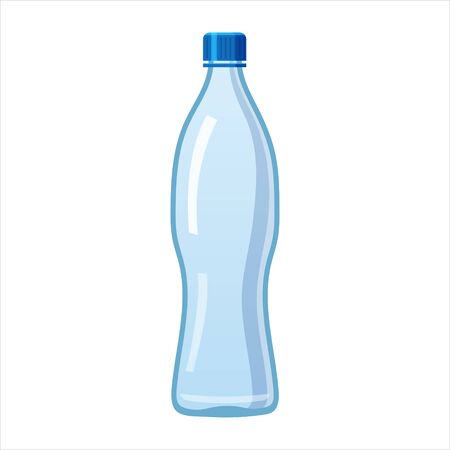 Plastic water bottle icon empty liquid container drink with screw cap for beverage drinking mineral water. Mockup template, vector cartoon style illustration isolated on white background