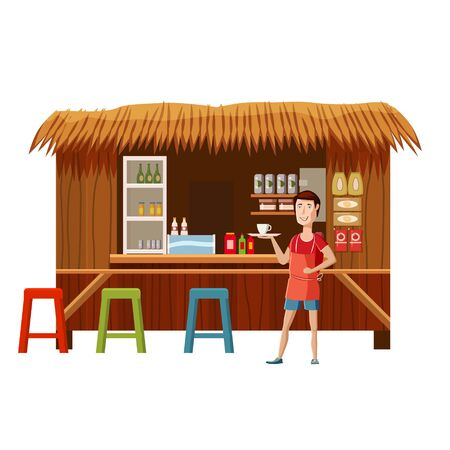 Warung street food cafe restaurant with seller man, small family owned busines, store shop. Vector isolated cartoon style Illustration