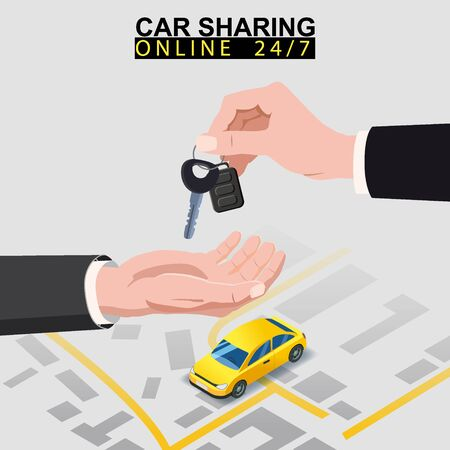 Car sharing isometric. Hand transfers car keys to another hand with city map route and points location yellow car. Online mobile application order service. Vector illustration for car sharing service