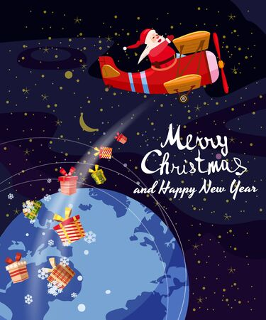 Santa Claus flying plane retro flies delivering gifts in space above the Earth. Illustration vector isolated cartoon style poster banner template 일러스트
