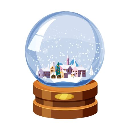 Christmas souvenir snow globe with little town in winter fir-tree. Vector illustration isolated Illustration