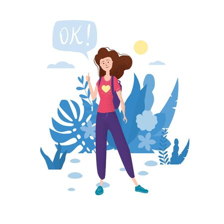 Happy teenage girl with thumb up. Student with backpack bubble OK. Vector trendy flat cartoon style, illustration. Floral background 일러스트