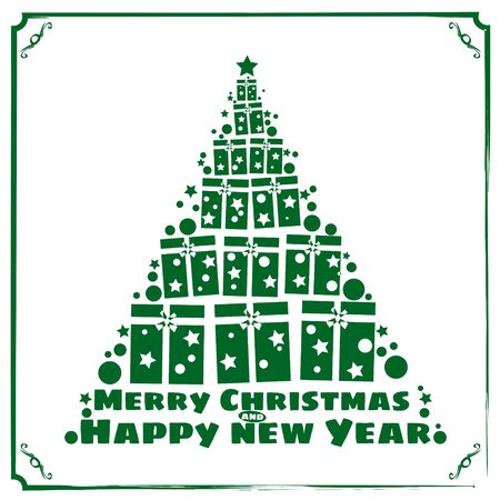 Merry Christmas and a happy new year. Decorated stylized christmas tree with gift boxes, lights, decoration balls and lamps. Vector illustration in flat and cartoon style