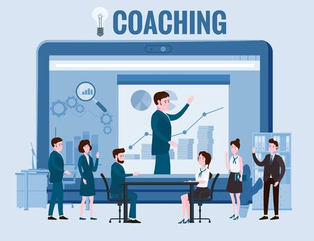 Business coaching, people man and woman training talking, discussing. With big laptop notebook chart and graph statistics background. Vector isolated illistration cartoon flat style 일러스트
