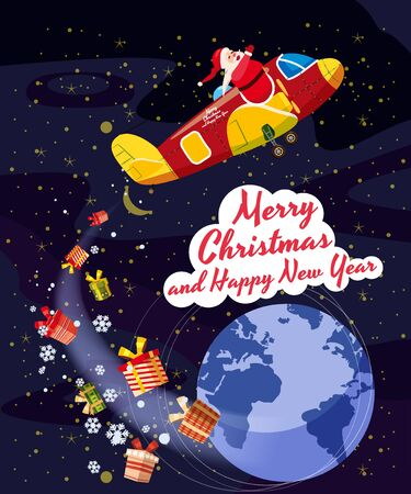 Santa Claus flying plane flies delivering gifts in space above the Earth. Illustration vector isolated cartoon style poster banner template