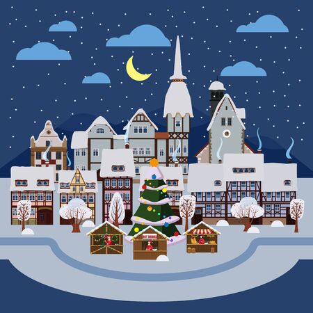 Christmas urban night winter city street with old town houses and trees. Landscape with people Christmas tree souvenirs market stalls. Vector illustration isolated flat cartoon style 일러스트