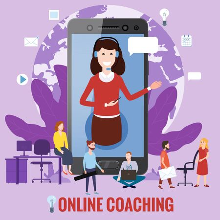 Online training coaching, education, workshops and courses. E-learning page students studying, with smartphone, pile of books icon set and mentor masterclass. Vector illustration isolated 向量圖像