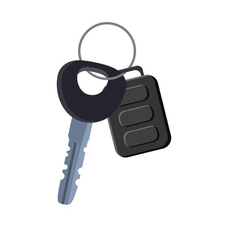 Car key with remote control and charm of the alarm system. Vector isolated cartoon style