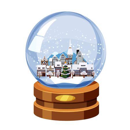 Boule à neige souvenir de Noël avec petite ville en sapin d'hiver. Illustration vectorielle isolée