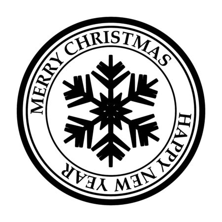 Merry Christmasand Happy New Year post stamp snowflake icon isolated on white vector