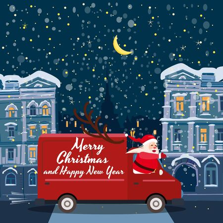 Merry Chrismas Santa Claus Van delivering gifts background night winter old city. Flat cartoon style vector illustration greeting card poster banner