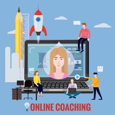 Online coaching training, education, workshops and courses. E-learning page students studying, with notebook, rocket start up and mentor masterclass. Vector illustration isolated