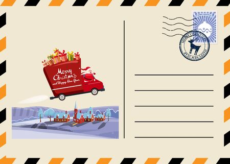 Christmas and New Year Postcard with stamps and mark. Van flies through the night sky above the Earth Santa Claus as the driver delivering gifts. Flat cartoon style vector illustration greeting card p 일러스트