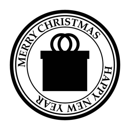 Merry Christmas and Happy New Year post stamp gift box icon isolated on white vector 일러스트