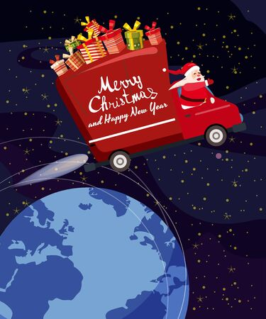 Merry Chrismas Santa Claus Van flies through the night sky above the Earth delivering gifts. Flat cartoon style vector illustration greeting card poster banner 일러스트