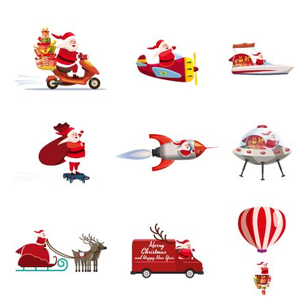 Set of Santa Claus of different types of transport vehicles truck, moped, boat, plane, rocket, drone, UFO, sled, balloon. Vector, illustration, isolated cartoon style