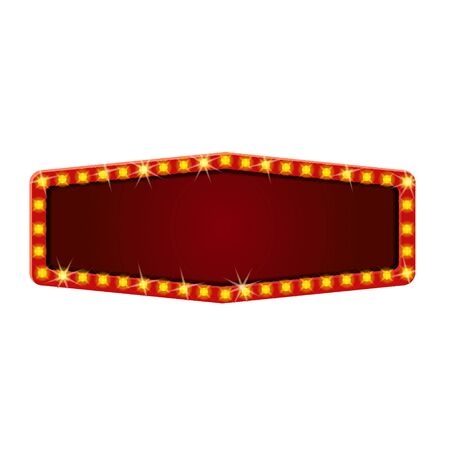 Red retro frame with glowing lamps template. Vintage billboard, bright signboard, light banner. Vector isolated advertising, promotions