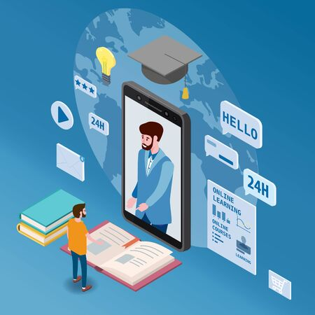 Online coaching education training, workshops and courses. Flat 3d isometric design. Student studying, with smartphone, pile of books icon set and mentor masterclass. Vector illustration isolated