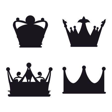 Set Crown Icon Royal, luxury symbol King, Queen. Vector illustration logo, app, UI isolated 일러스트