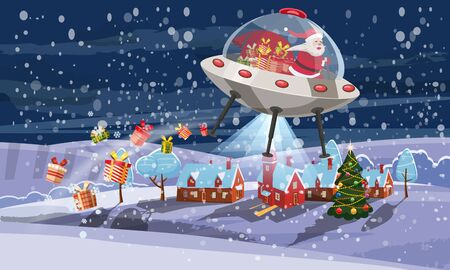 Merry Christmas Santa Claus flying in UFO spaceship flying saucer with gift boxes on little town winter night.