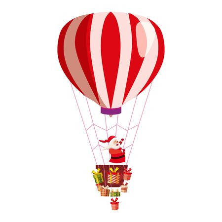 Santa Claus flying on hot air balloon Merry Christmas and Happy New Year. Gift boxes in basket of air balloon flying. Vector illustration isolated cartoon style