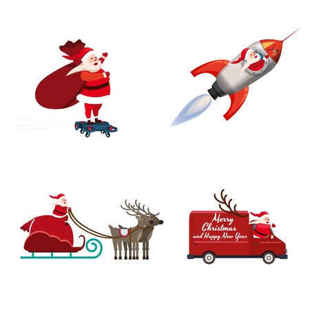 Set of Santa Claus of different types of transport vehicles truck, rocket, drone, sled. Vector, illustration, isolated cartoon style 일러스트